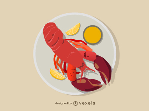 Grilled Lobster Food Illustration