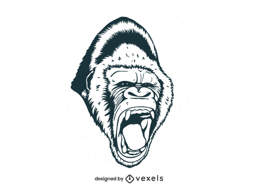 Hand Drawn Angry Gorilla Head