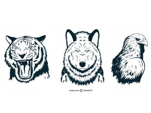 Hand Drawn Animal Head Eagle Tiger Wolf