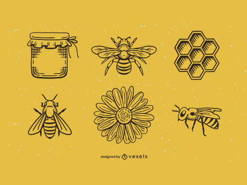 Bee Honey Daisy Flower Vintage Icon Set