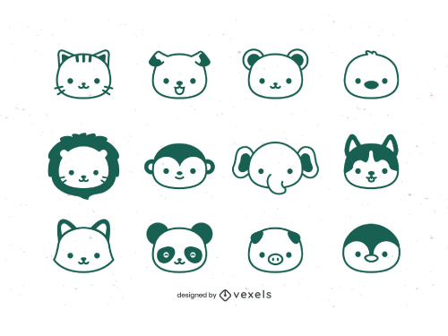 Kawaii Animal Head BW Outline Pack