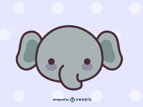 Cute Elephant Head Drawing