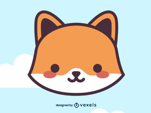 Fox Head Icon Cute Kawaii