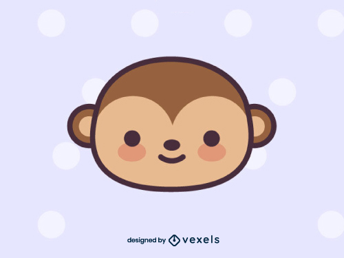 Cute Monkey Head Drawing