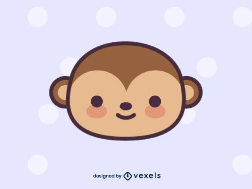 Cute Monkey Head Drawing