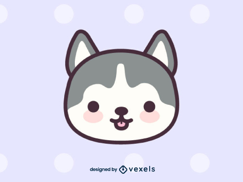 Kawaii Wolf Animal Head Icon
