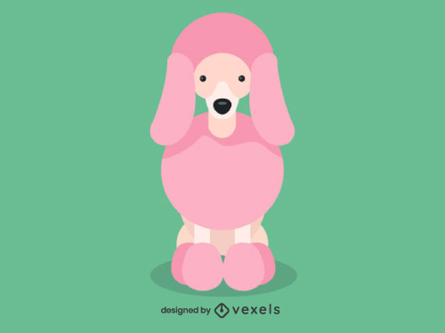 Large Poodle Cute Dog Illustration