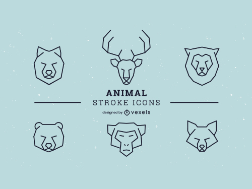 Linear Animal Set Geometric Logo