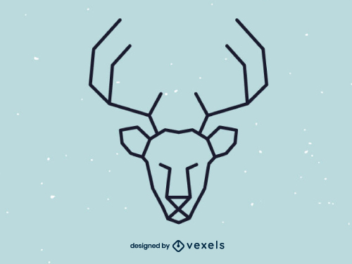 Linear Deer Head Geometric Logo