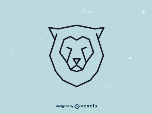 Linear Lion Head Geometric Logo