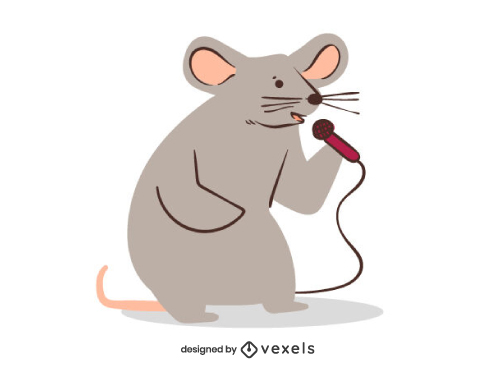Cute Mouse Singing Illustration