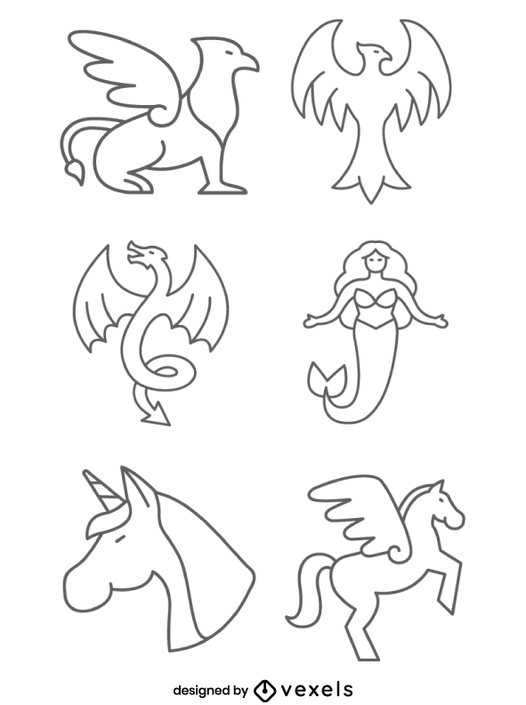 Mythical Creatures Line Icons