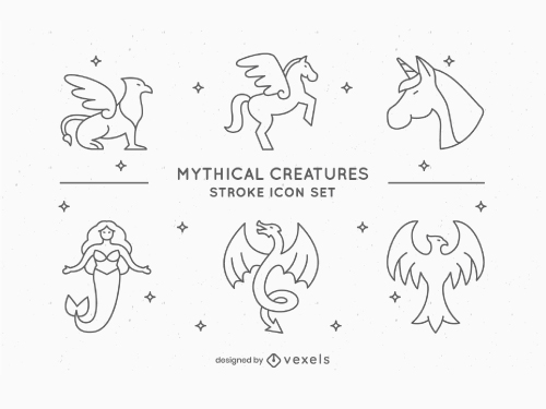 Mythical Creatures drawing icons