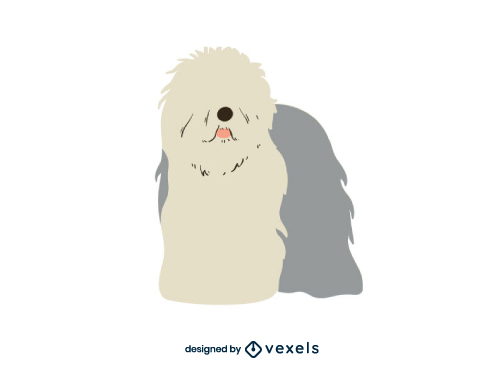 Old English Sheepdog Dog Bobtail Flat Cartoon Breed