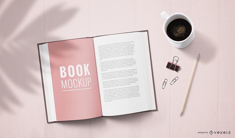 Open Book Coffee Table Mockup