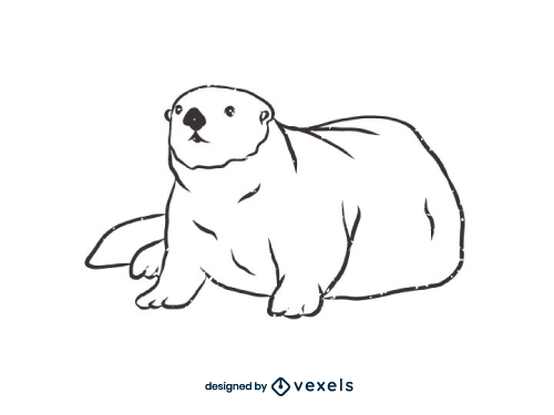 Otter Outline Line Art Black And White