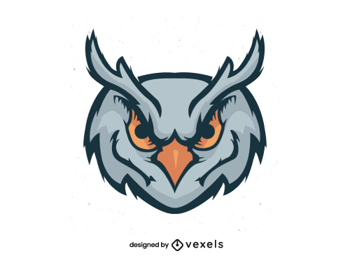 Sports Team Owl Head Flat Logo