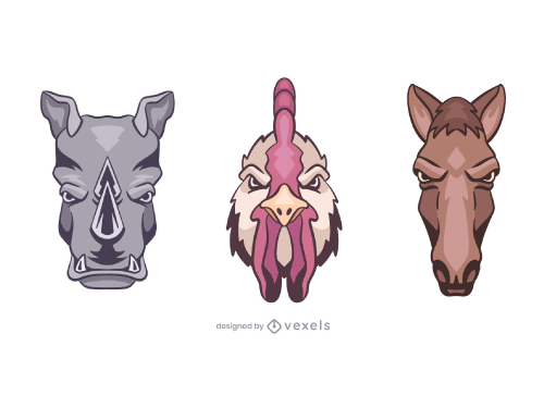 Pack of Animal Heads Illustrations Logo Style
