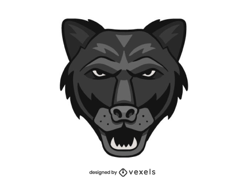 Angry Panther Head Shield Logo