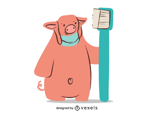 Pig Toothbrush Dental Care Character