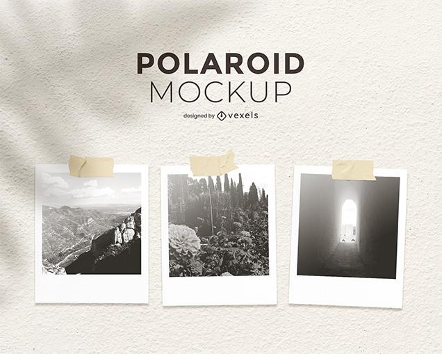 Polaroid Photo Mockup Wall