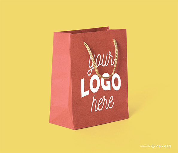 Red Paper Shopping Bag Mockup