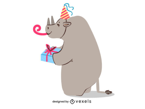 Rhino with Gift Celebrating Birthday