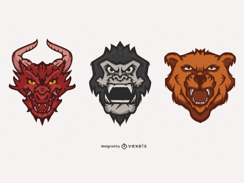 Roaring Angry Animal Head Logo Pack