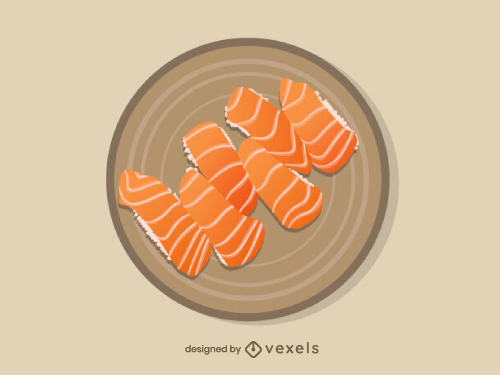 Salmon Sushi Nigiri Food Illustration