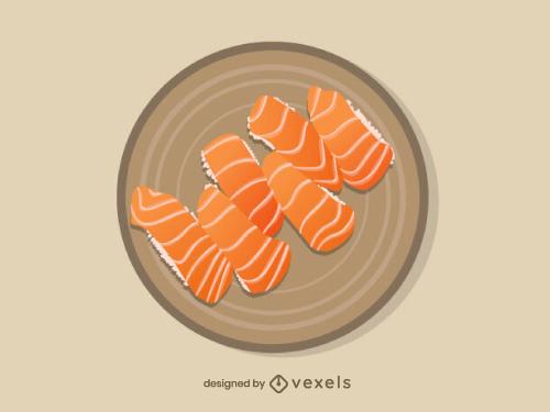 Salmon Sushi Nigiri Food Illustration