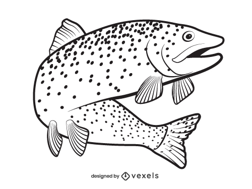 Salmon Trout Fish Outline