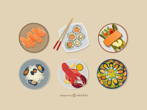 Seafood Dish Flat Illustration Pack