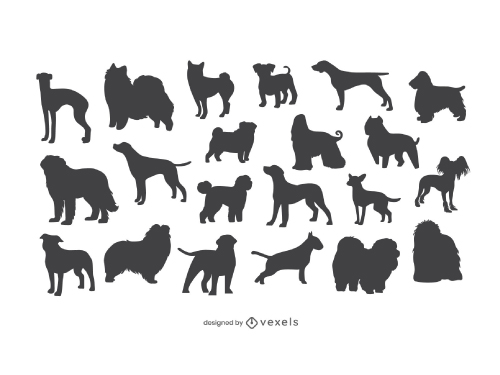 Set of Dog Breed Silhouette