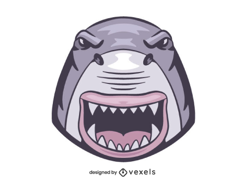 Angry Shark Head Shield Logo