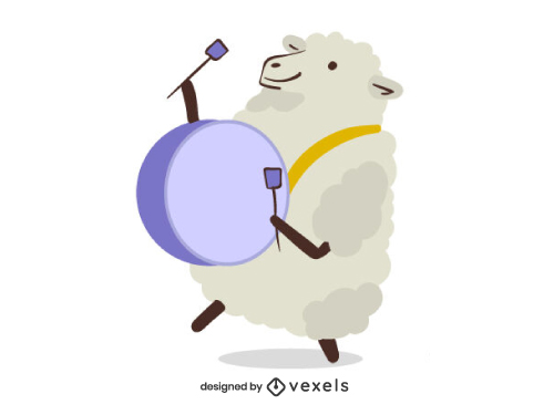 Sheep Animal Playing Big Drum Character