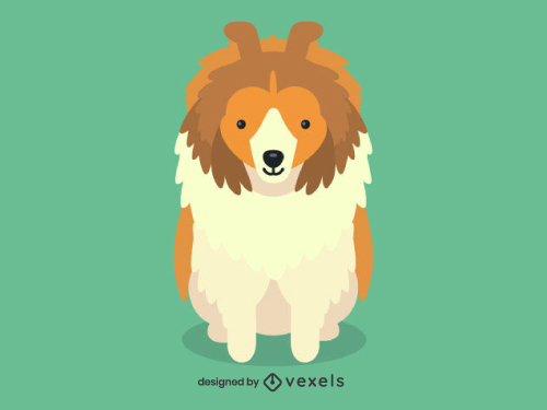 Sheltie Cute Dog Illustration