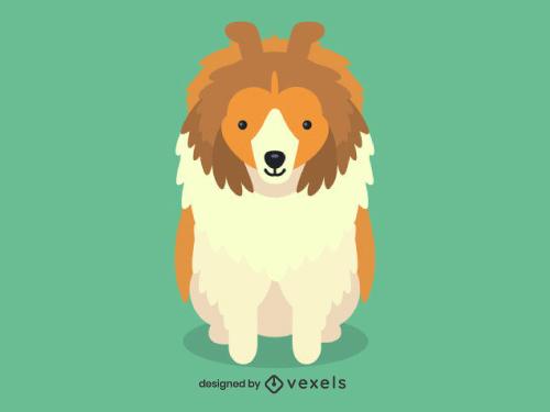 Sheltie Cute Dog Illustration