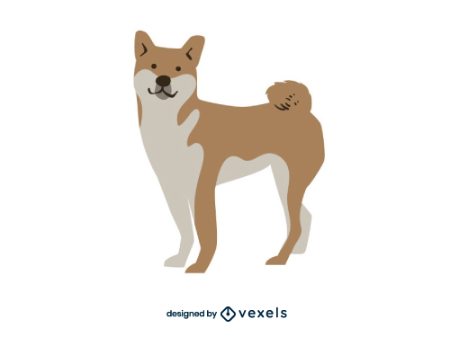 Shiba Inu Dog Flat Cartoon Breed