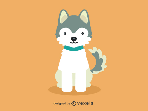 Siberian Husky Cute Dog Illustration