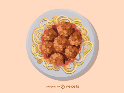 Spaghetti With Meatballs Food Dish Illustration