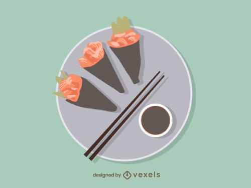 Japanese Temaki Food Illustration
