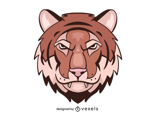 Angry Tiger Head Shield Logo