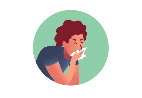 Illustration Man Coughing into Tissue