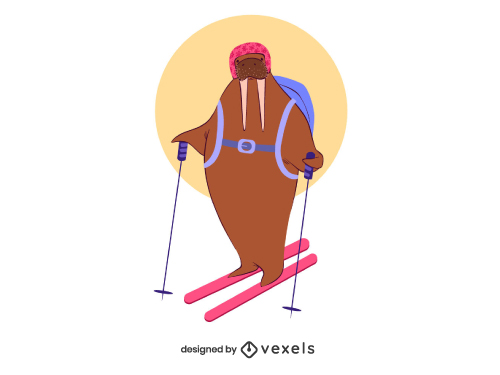 Walrus Animal Skiing Winter Sport