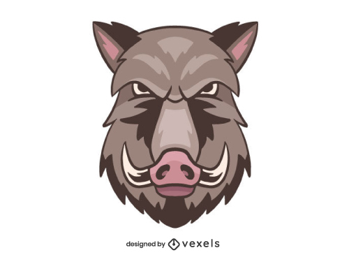 Wild Boar Head Mascot Logo