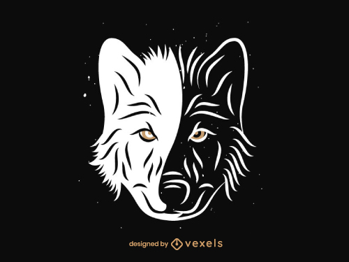 Wolf Head Logo Black And White Duotone