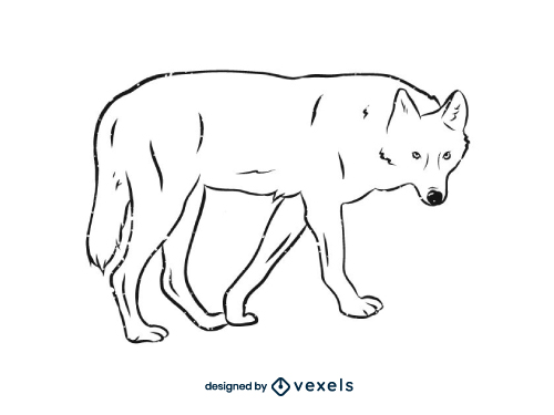 Wolf Outline Line Art Black And White