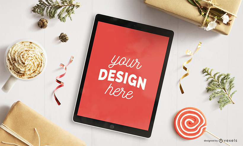 Xmas Ipad Holiday Christmas Mockup